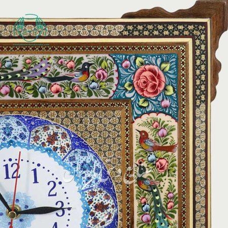 گوشه ساعت قاب خاتم پارسیان نقاشی سایز 20