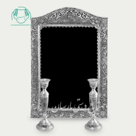آینه شمعدان قلمزنی اعلی گل و مرغ اسلیمی