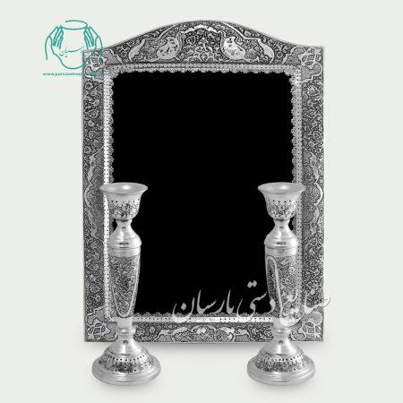 آینه شمعدان سیاه قلم قلمزنی گل و مرغ و بوته جقه