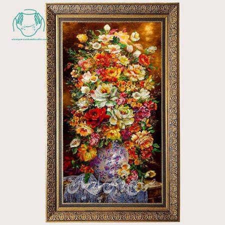 تابلو فرش گل رنگهای شاد عمودی دستباف تبریز