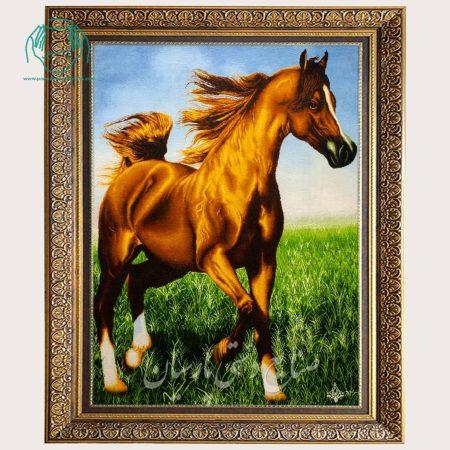 تابلو فرش اسب عمودی بزرگ دستباف تبریز مارک نهرو