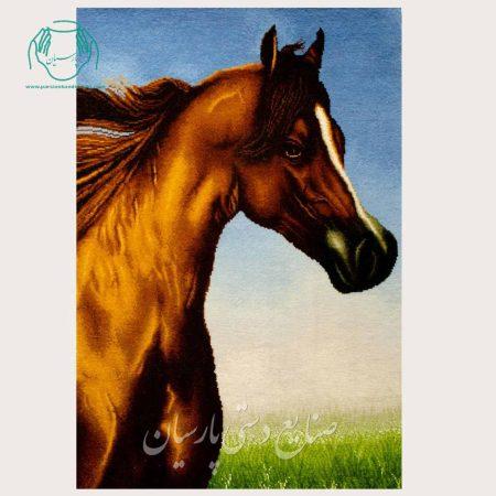تابلو فرش اسب عمودی بزرگ دستباف تبریز مارک نهرو2
