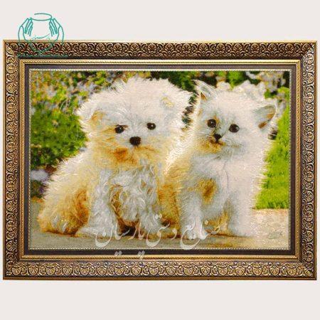 تابلو فرش دو گربه سفید مارک مرتضوی دستباف تبریز