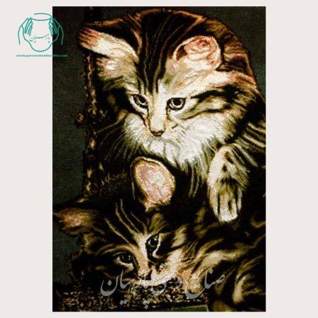 تابلو فرش گربه تاب باز دستباف تبریز2