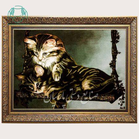 تابلو فرش گربه تاب باز دستباف تبریز