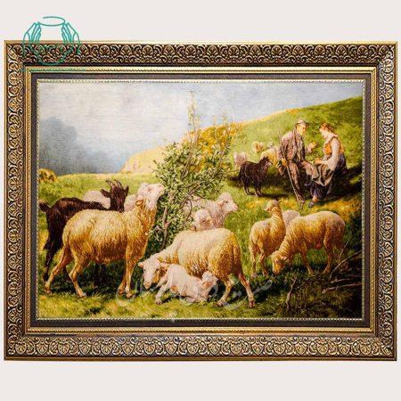 تابلو فرش گله گوسفند دستباف تبریز