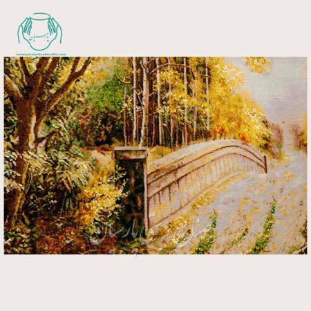 تابلو فرش منظره پل دستباف تبریز2